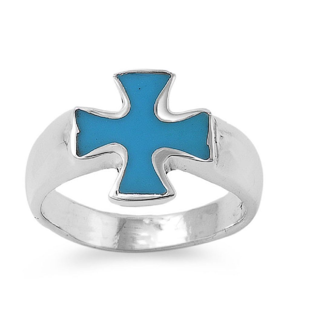 Turquesa de imitación piedra Cruz de Hierro Estilo de moda anillo