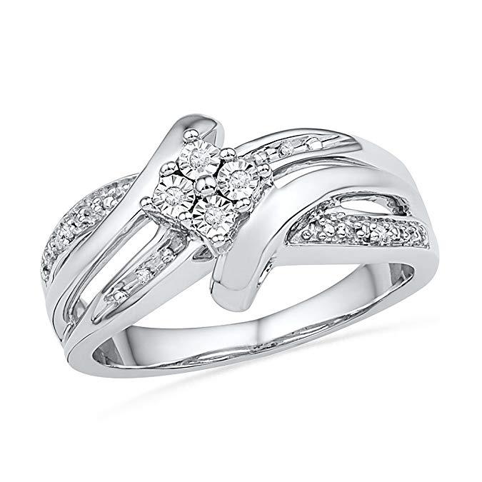 Bypass Diamante redondo de plata de ley anillo de moda (0,03 quilates)