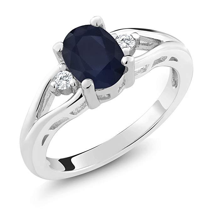 Anillo de plata esterlina 925 con zafiro azul y 3 piedras para mujeres