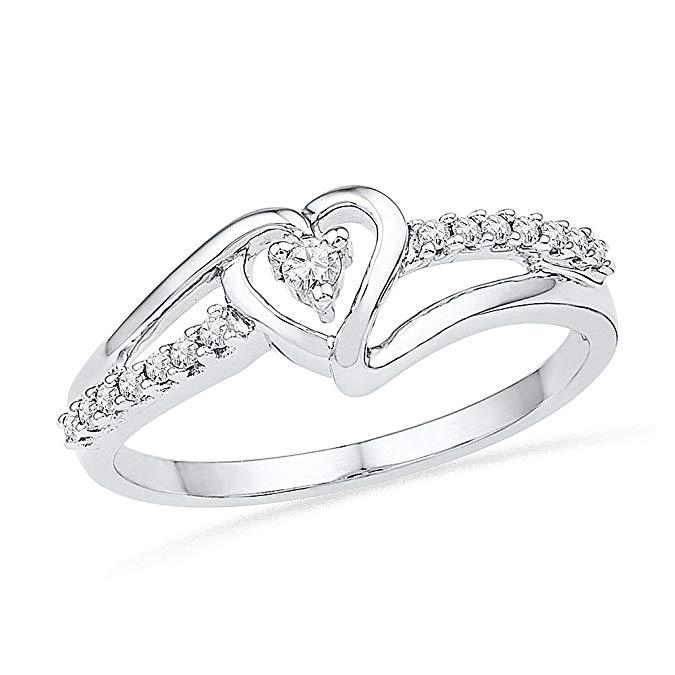 Anillo de moda con diamantes redondos blancos, de plata