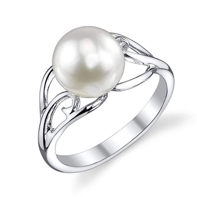 Anillo de arena de perlas cultivadas de agua dulce genuinas blancas de 8-9 mm para mujeres