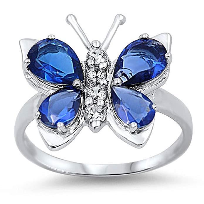 Elige tu color anillo de mariposa de plata de ley