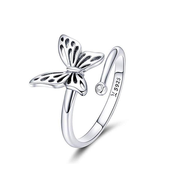 Anillo de plata de ley 925 con diseño de mariposa