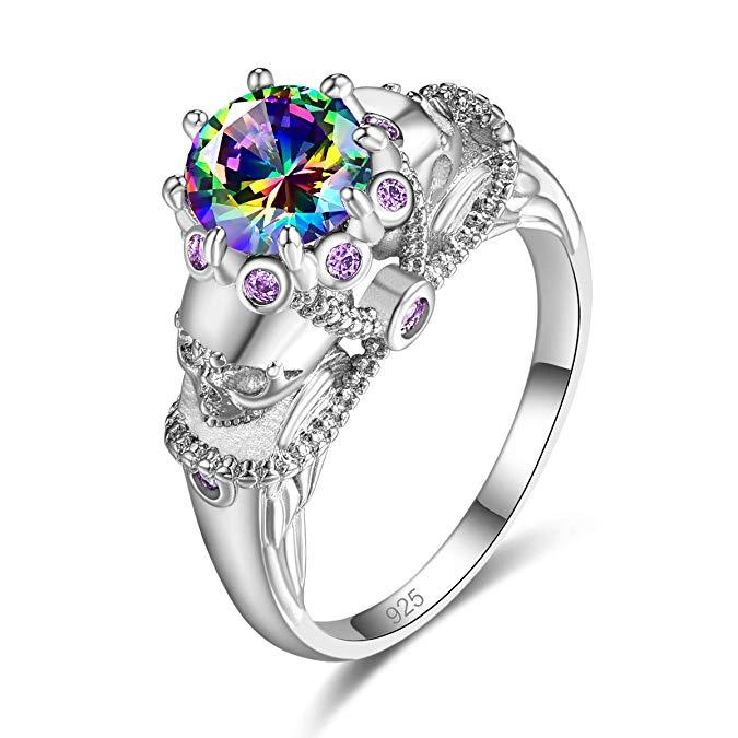 Psiroy 925 Sterling Silver creó un anillo de calavera relleno de espinela negra para mujer