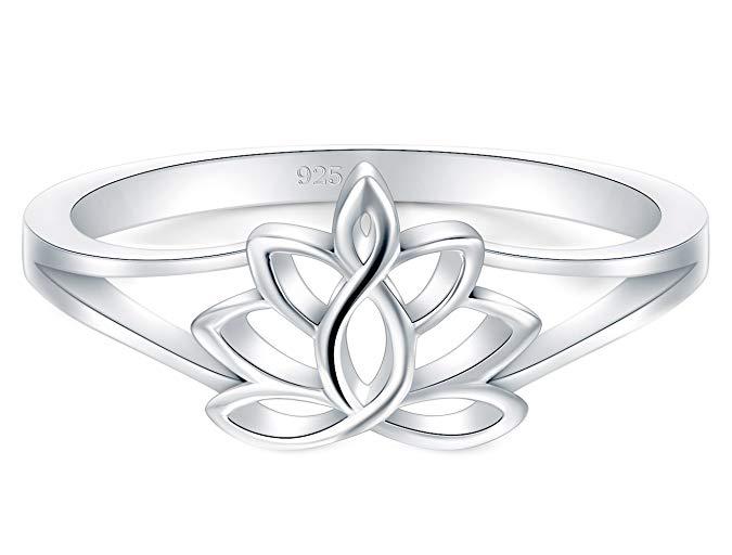 Anillo de plata esterlina 925, flor de loto