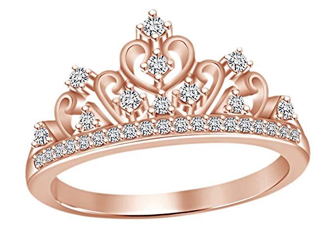 Anillo de corona de princesa con circonita cúbica sobre plata de ley