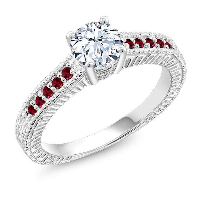 1,35 Ct zafiro blanco rojo de imitación de rubí 925 anillo de plata de ley