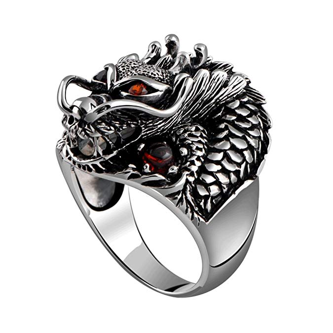 Anillo de plata de ley 925 con diseño de dragón con rubí punk rock para hombre