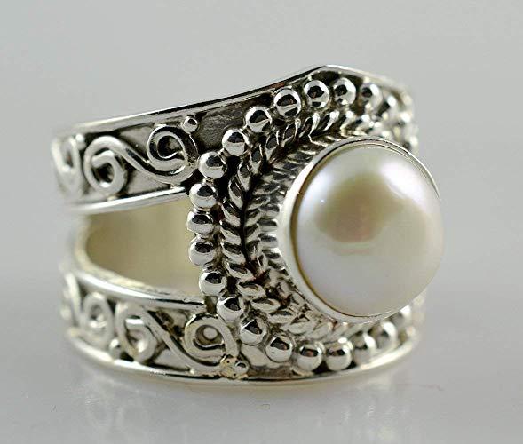anillo de perlas para mujer, tamaño del anillo hecho a mano