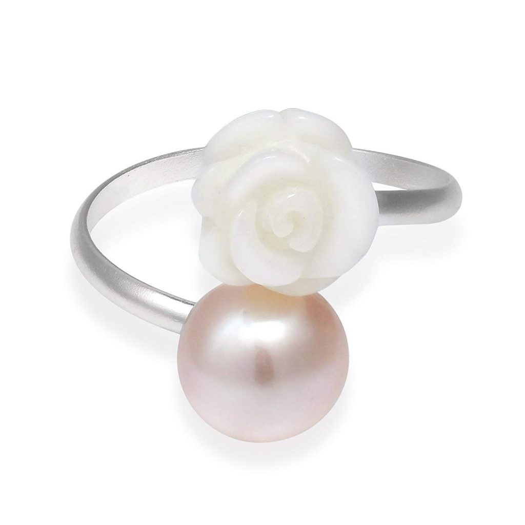 Charming Agua dulce Cultivadas Rosa Blanca Wrap Pink Pearl plata de ley 925 anillo