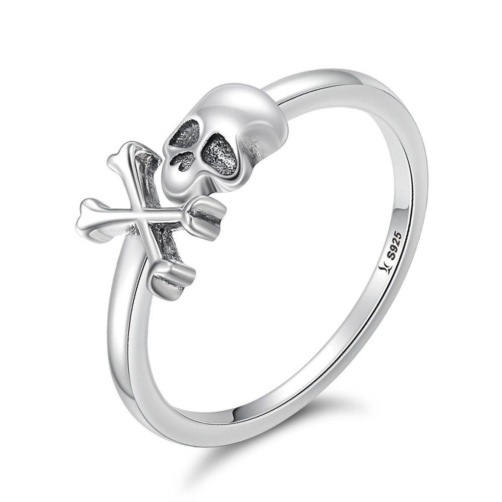 Wostu moda anillos de plata de ley 925 plata gótico anillos de calavera