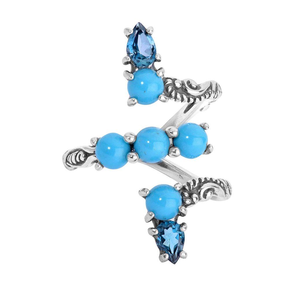 Anillo de plata de ley, turquesa, topacio azul