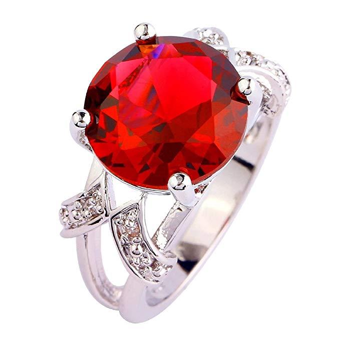 Anillo de promesa de plata de ley 925 con piedra roja