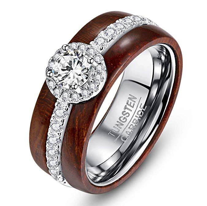 Anillo de boda y compromiso de plata de ley 925