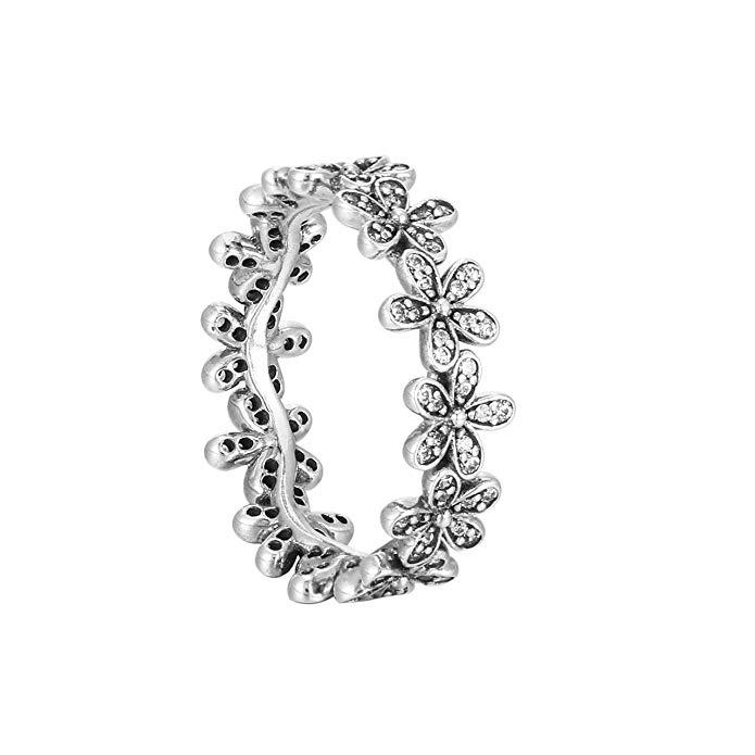 Pandora Ring Dazzling Daisy prados con Clear CZ 190934 CZ, plata de ley, 7, 190934CZ-54