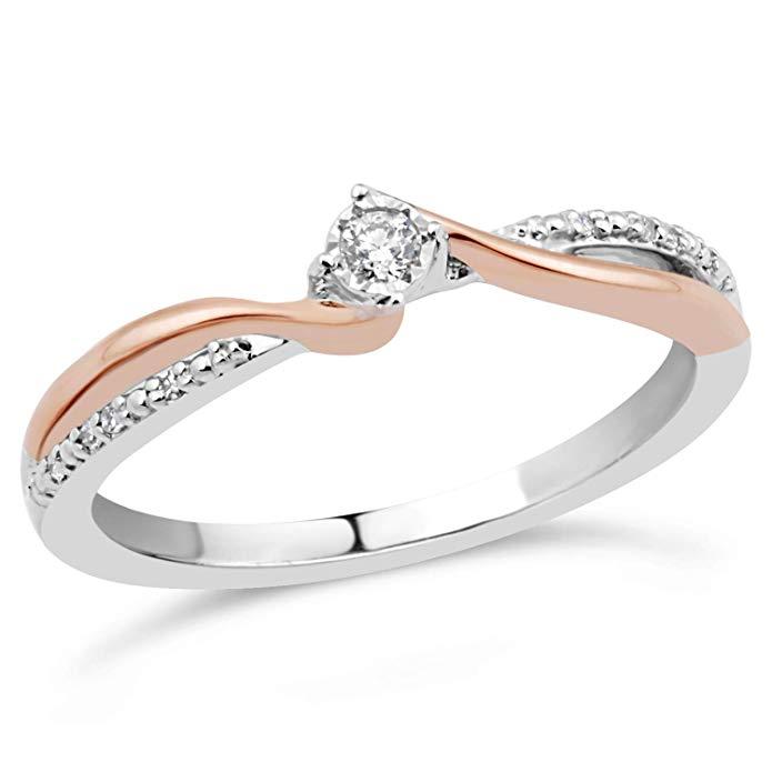 Anillo de promesa de diamante en plata de ley y oro rosa de 10 K 1/10 ct.