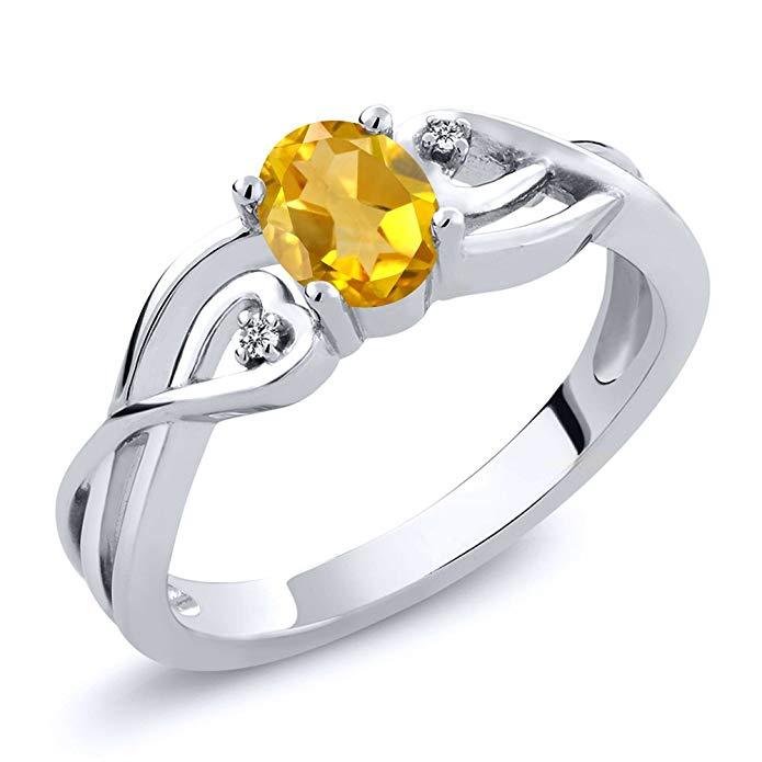 Plata de ley 925 auténtica amarillo citrino y blanco anillo de la mujer
