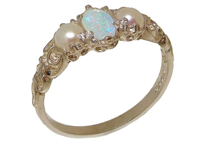 Plata de ley 925 natural Opal & Perla cultivada de Womens