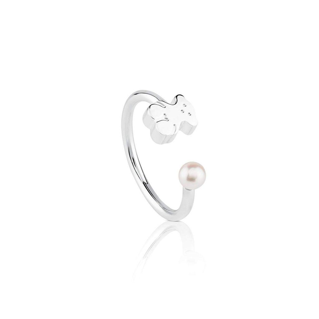 Tous Super Micro Perla y oso Ring – Tamaño 6,5