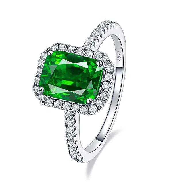 Anillo de compromiso de plata de ley 925 con esmeralda verde de 3,6 ct 0.315 x 0.236 in