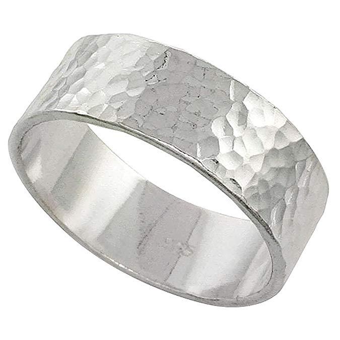 Anillo de anillo de matrimonio martillado de plata de ley de 8 mm hecho a mano