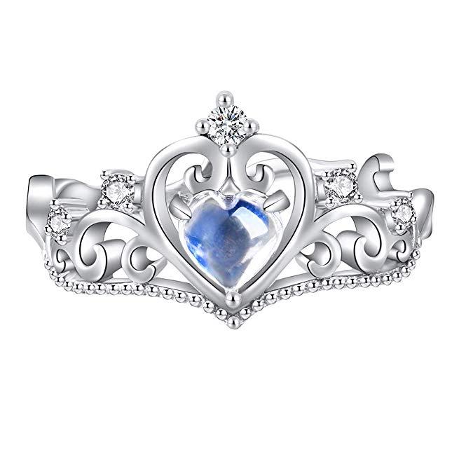 jewever plata de ley 925 original Corona de Princesa Piedra Lunar