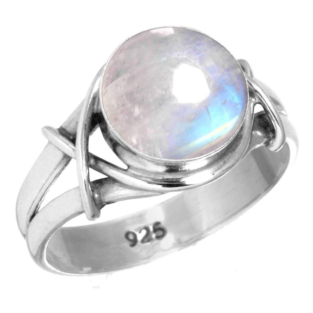 Anillo de plata de ley 925 maciza con piedra preciosa hecho a mano para mujer