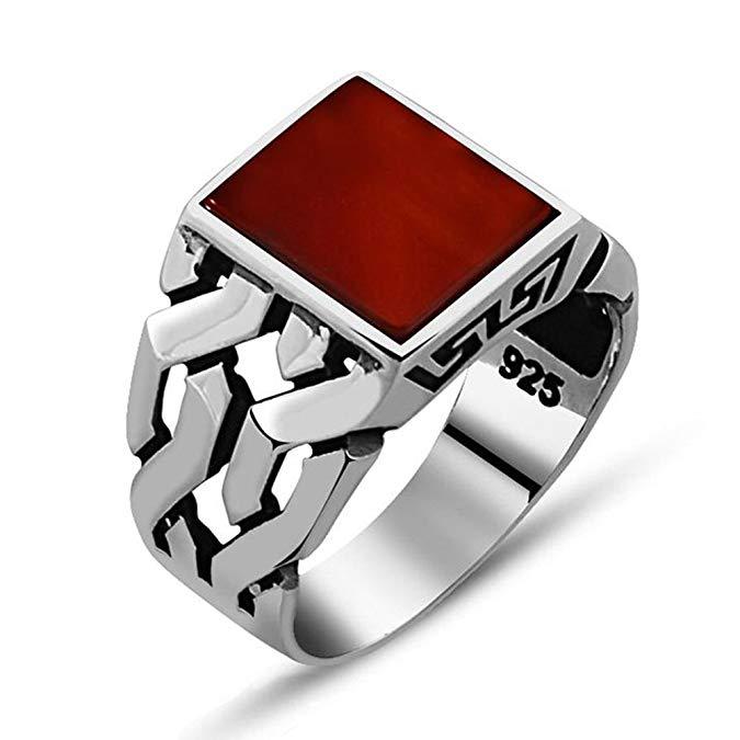 Anillo de plata para hombre con piedra de ágata roja en plata de ley 925