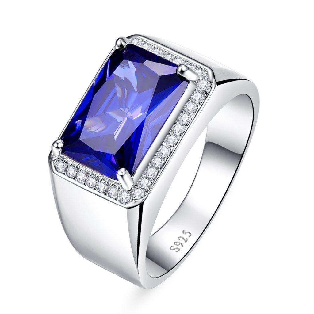 Anillo de compromiso de plata de ley 925 con zafiro azul de corte radiante de 7,0 quilates