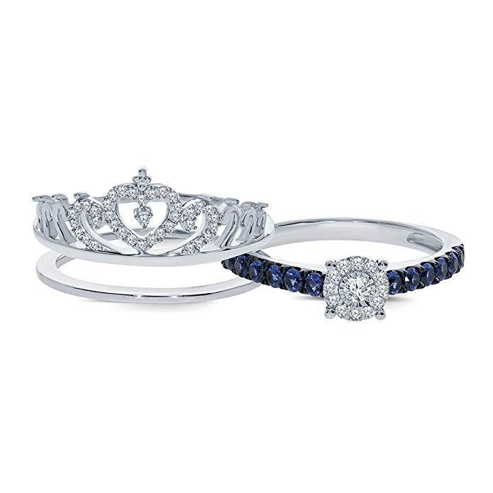 Saphire Azul Plata de ley 925 Insert Corona Ring