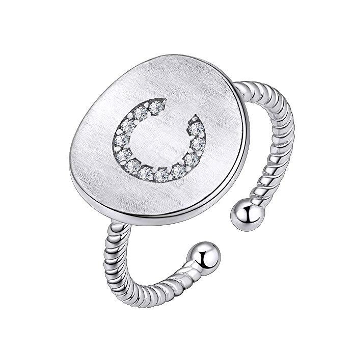 Collar inicial de plata de ley 925 con circonitas cúbicas personalizadas
