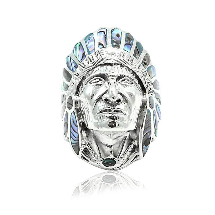 Simulado Abalone Nativo Indian Chief Jefe Anillo Plata de ley 925