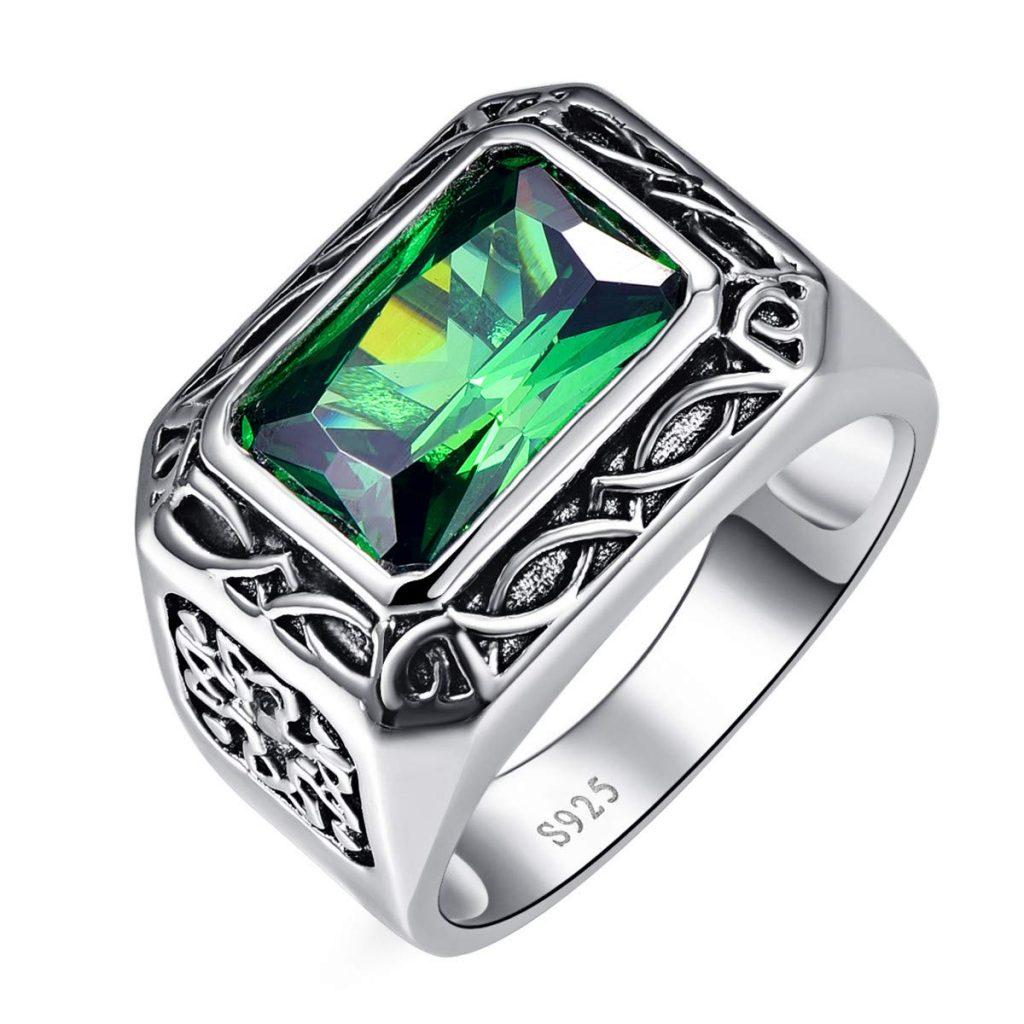 Anillo de compromiso de plata de ley 925 con esmeralda verde de corte radiante para hombre