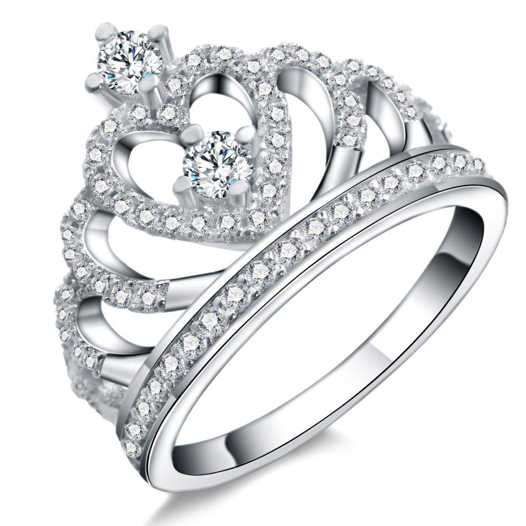 Juego de anillos de plata de ley 925 con forma de corona para novia