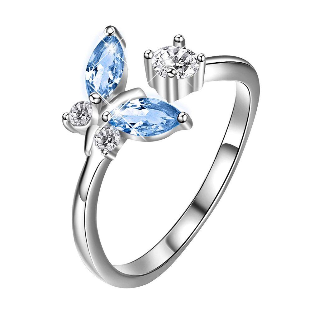 Joyería de plata de ley con diseño de mariposas y cristales de Swarovski azules