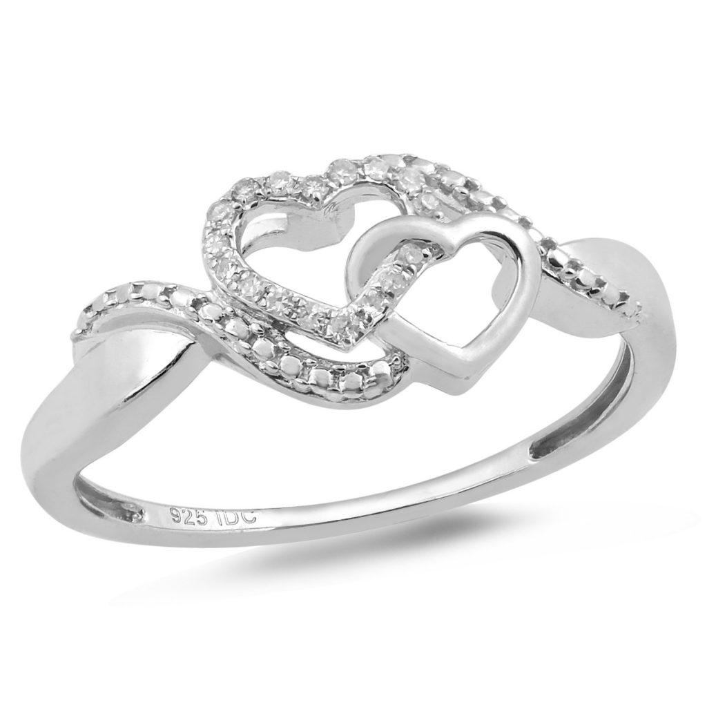 Anillo de promesa de diamante en plata de ley chapada en rodio de 1/20 ct.