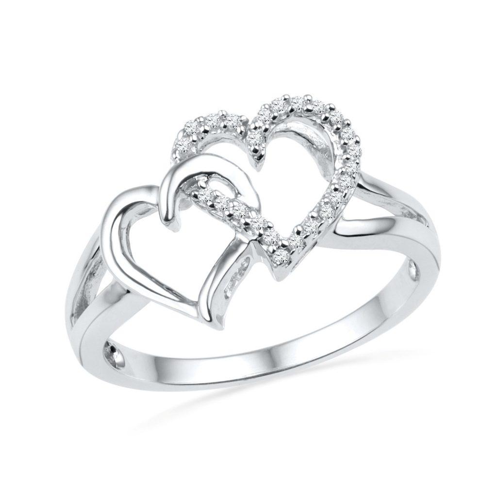 Anillo de plata de ley con diamante redondo y doble corazón (1/3.9 in)