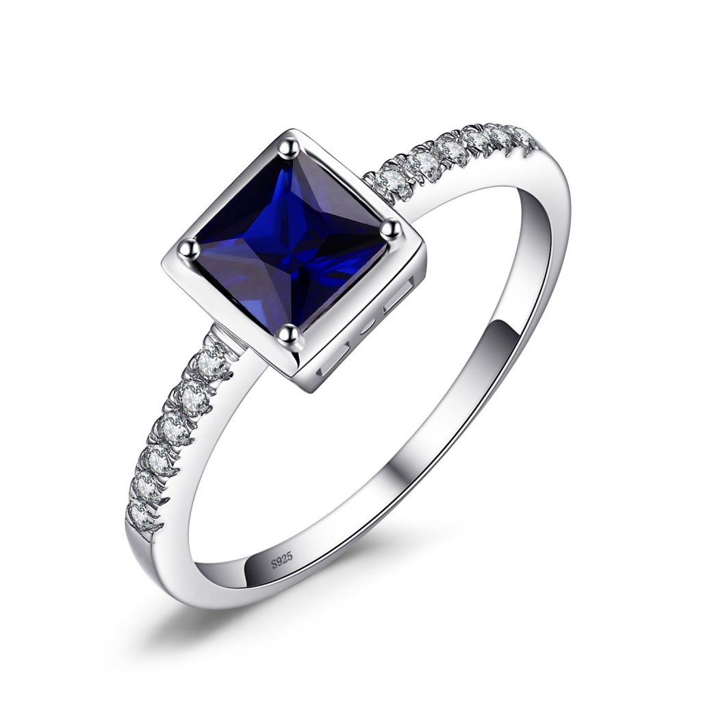 JewelryPalace creó zafiro nano ruso esmeralda simulada anillo de plata de ley 925