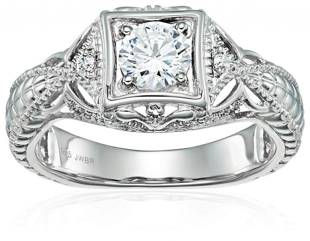 Plata de Ley Circonita Vintage boda anillo de compromiso