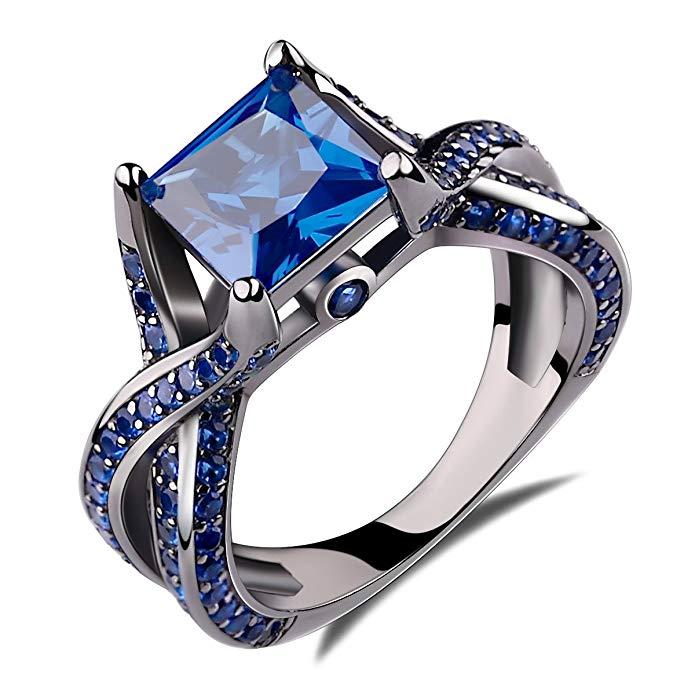 anillo de compromiso de plata esterlina 925 azul