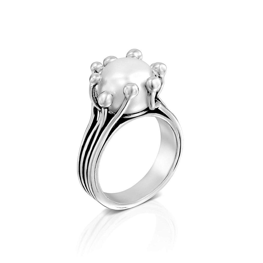 Anillo de plata de ley 925 con perlas cultivadas de color blanco