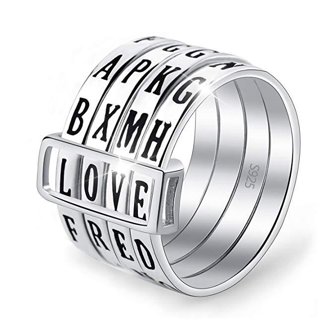 Lotus Fun S925 Anillo de plata de ley giratorio con letra anillo hecho a mano