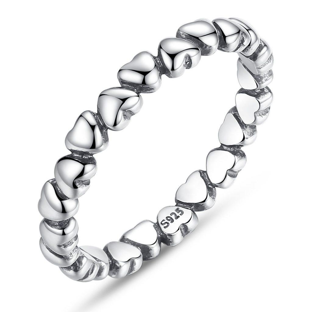 Anillo de plata de ley 925 para mujer, diseño de corazón