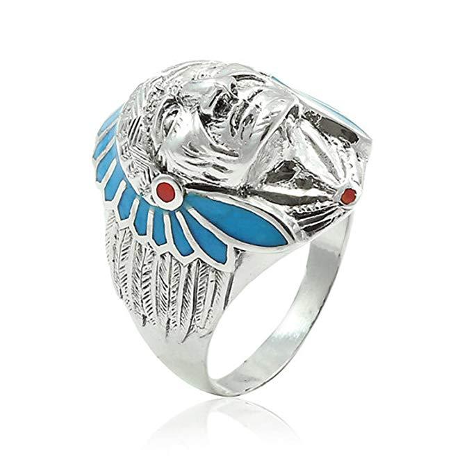 Plata de ley 925 simulado anillo de turquesa