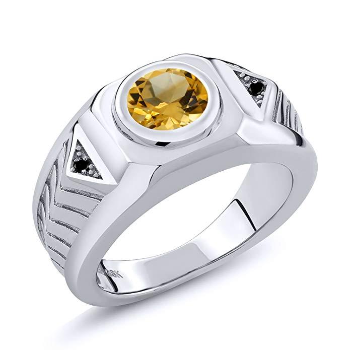amarillo citrino diamante negro plata de ley 925 de los hombres