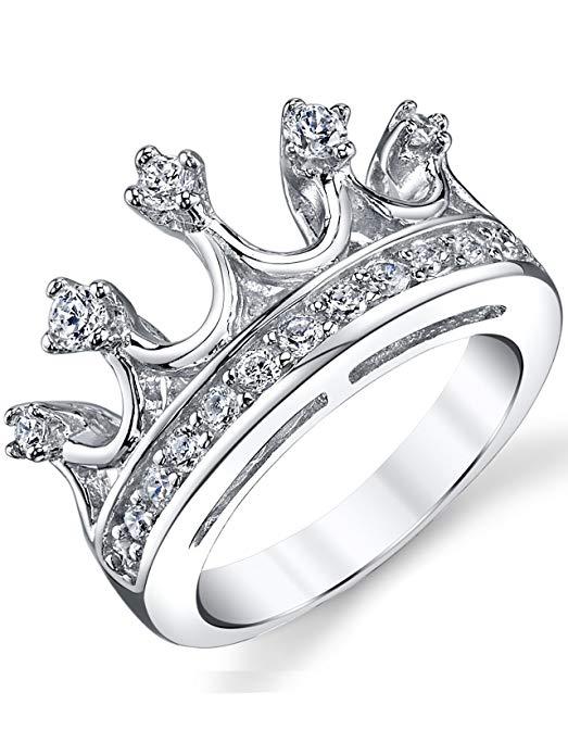 Anillo de plata esterlina 925 Princess Crown Tiara Cubic Zirconia