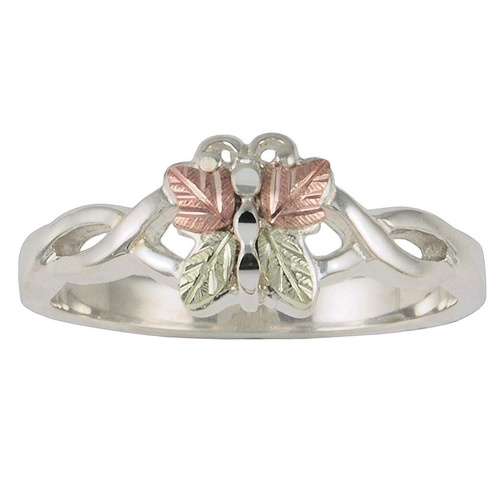 Black Hills anillo hecho de plata de ley de mariposa de oro