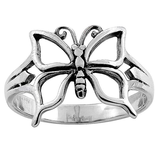 Anillo de mariposa de plata esterlina para mujer
