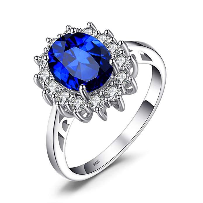 Anillo de compromiso con piedra de nacimiento de la princesa Diana azul