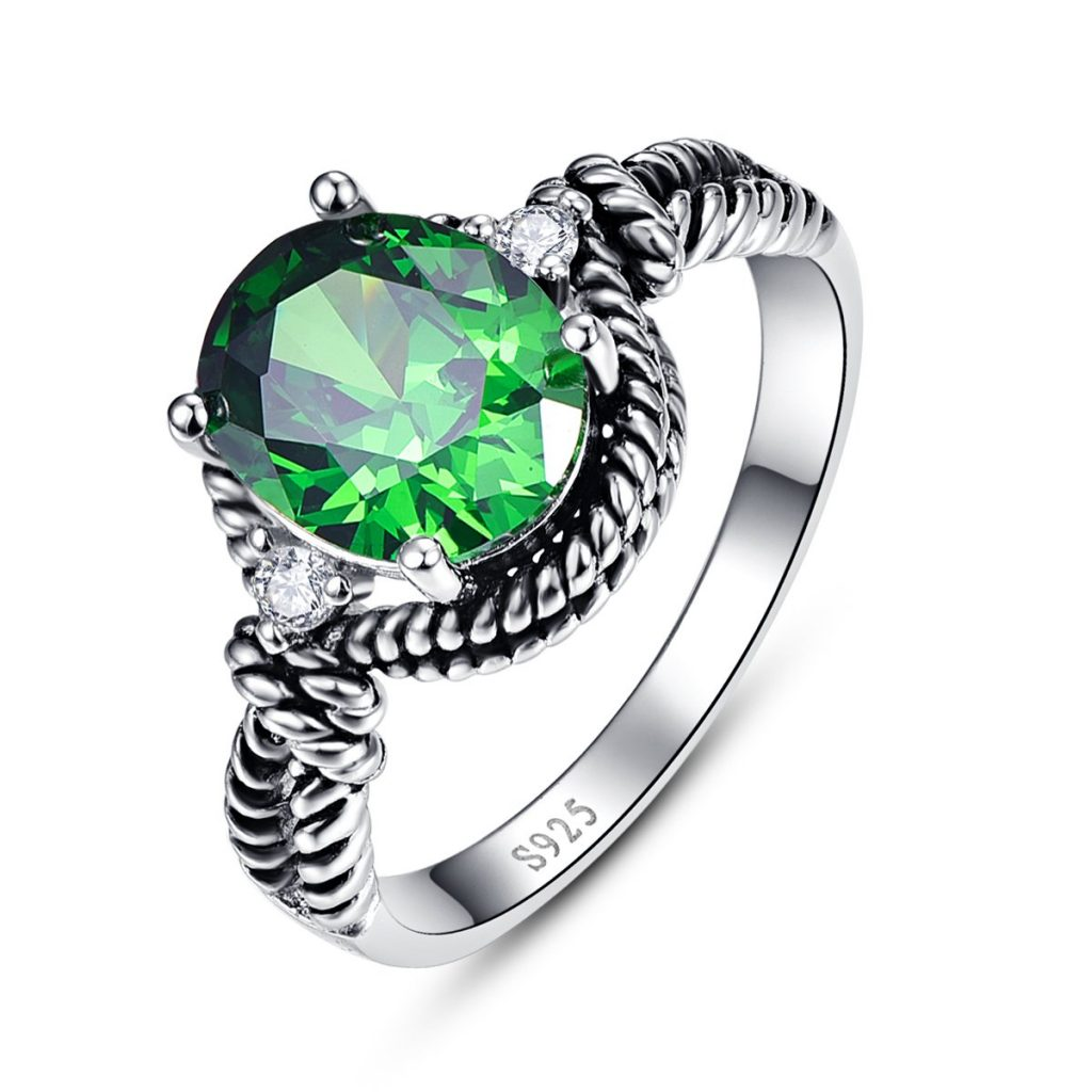 Oval Cut Created Green Emerald Cubic Zirconia 925 Sterling Silver Cocktail Ring